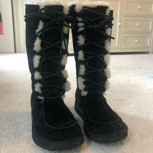 Black lace-up UGG boots